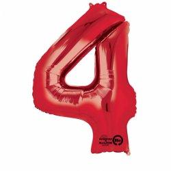 Balon Foliowy Cyfra 4 Czerwona 66x88 cm - na urodziny
