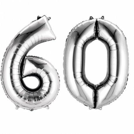 Balony Dekoracje na 60 urodziny - Srebrne Cyfry 6 i 0 - 88cm