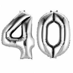 Balony Dekoracje na 40 urodziny - Srebrne Cyfry 4 i 0 - 88cm