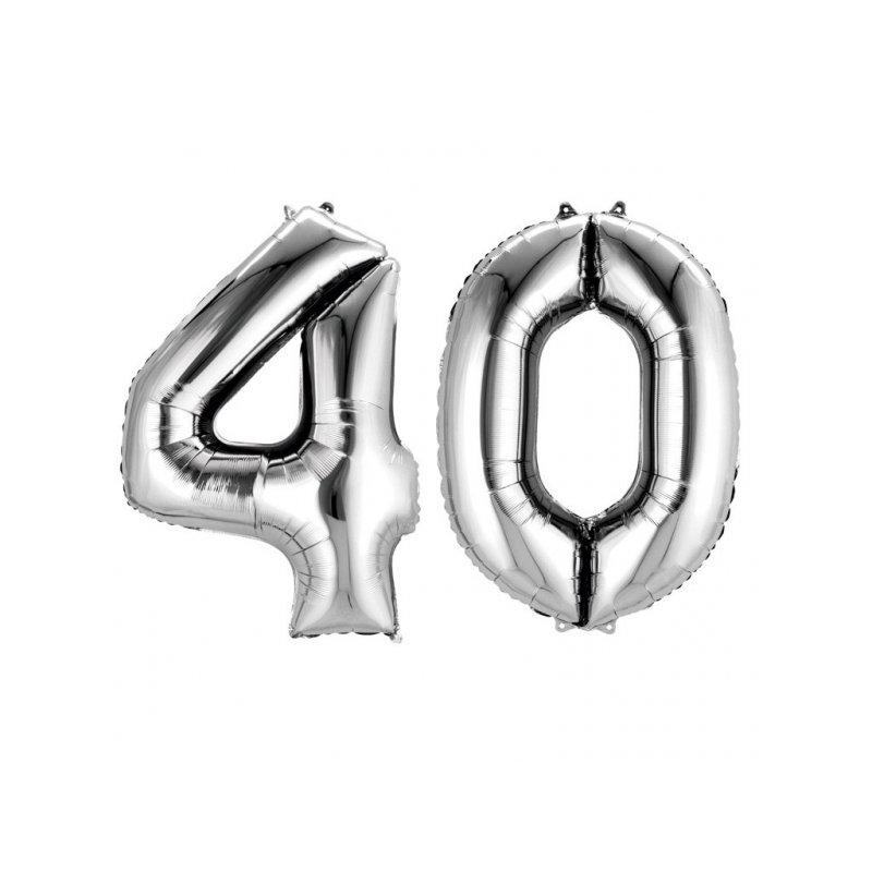Balony Dekoracje Na 40 Urodziny Srebrne Cyfry 4 I 0 88cm