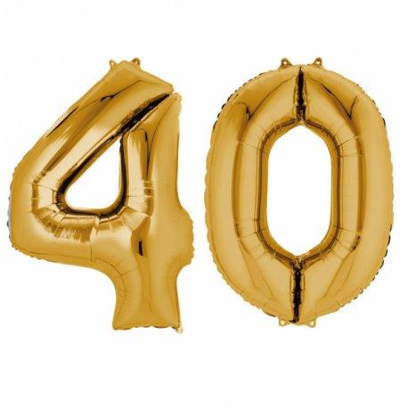 Balony 40 złote - 88 cm wysokie - dekoracje na 40-te urodziny