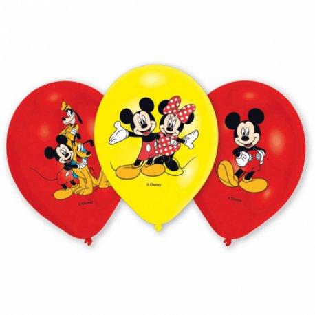 """6 balonów Myszka Mickey - 11"""" 27,5 cm - balony lateksowe"""