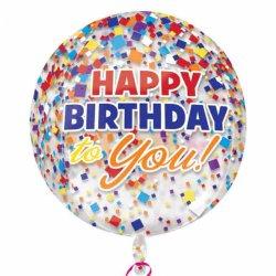 Orb Kula Confetti - Balon Urodzinowy Foliowy 38 cm x 40 cm