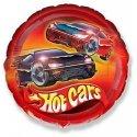 """Balon foliowy 18"""" FX - """"Samochody Hot Cars"""" (okrągły) 46 cm"""