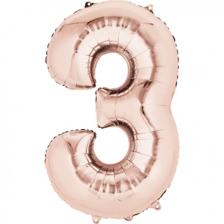 Balon Foliowy Cyfra 3 Złoty Róż 53x88 cm - na urodziny