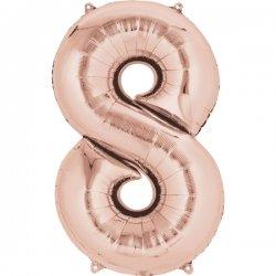 Balon Foliowy Cyfra 8 Złoty Róż 53x83 cm - na urodziny