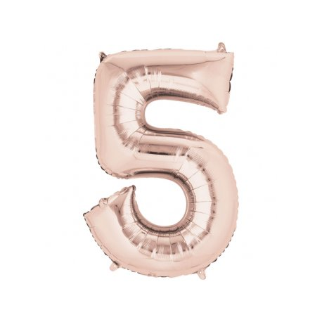 Balon Foliowy Cyfra 5 Złoty Róż 53x88 cm - na urodziny