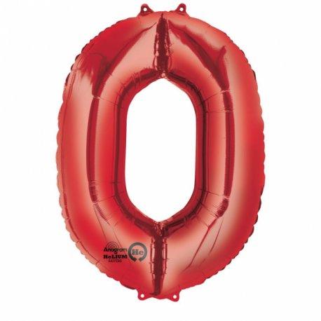 Balon Foliowy Cyfra 0 Czerwona 63x88 cm