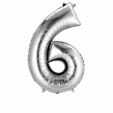 Balon Foliowy Cyfra 6 Srebrny 55x86cm