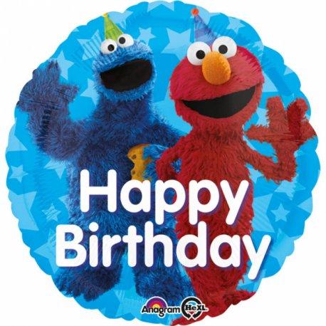 """Balon foliowy 17"""" Ulica Sezamkowa, Elmo Happy Birthday"""