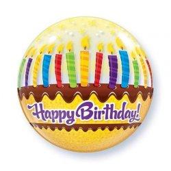 """Qualatex Balon 22"""" Tort ze świeczkami Okrągły jak piłka plażowa"""