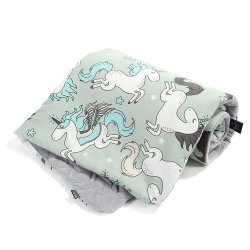 Kocyk Velvet Cotton - Unicorn rainbow knight, dark grey - La Millou