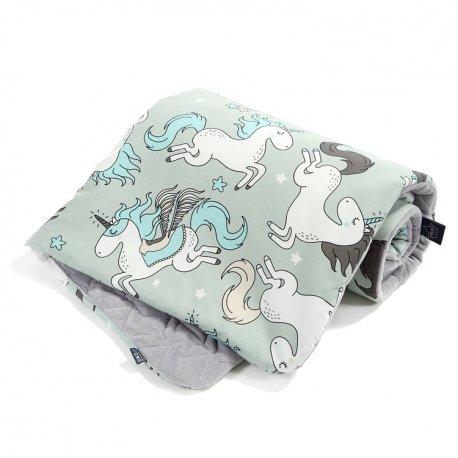 Kocyk Velvet Cotton - Unicorn rainbow knight, dark grey - La Millou