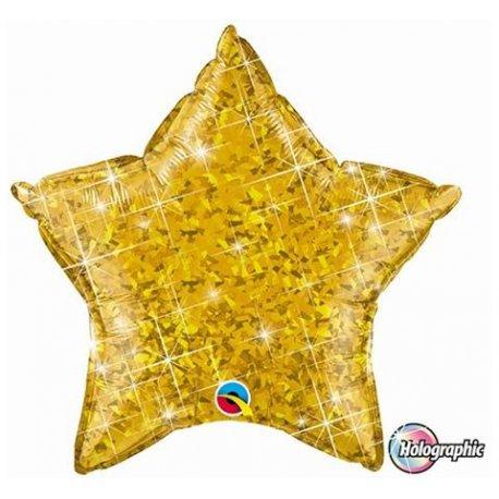 """Balon foliowy 20"""" Gwiazda holograficzna złota"""