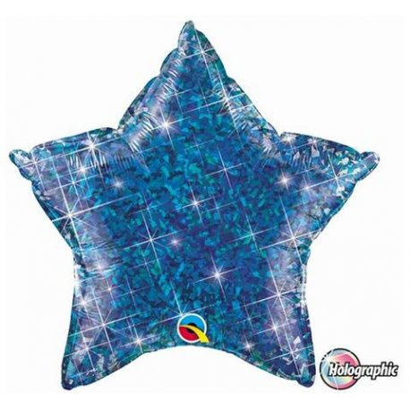 """Balon foliowy 20"""" Gwiazda holograficzna niebieska"""
