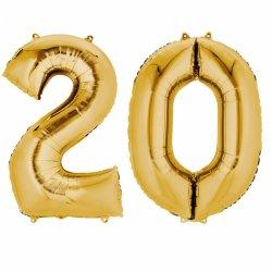 Balony 20 złote - 88 cm wysokie - dekoracje na 20-te urodziny