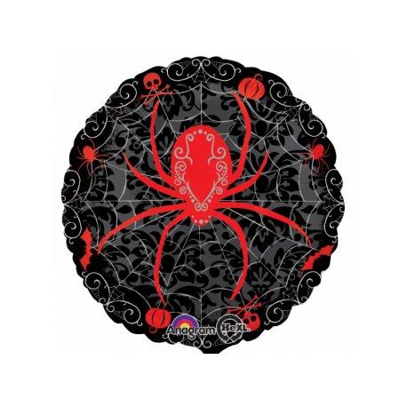 """Balon 17"""" Czerwony pająk - Halloween"""