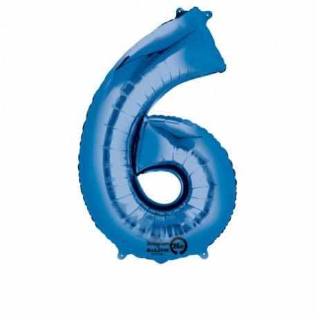 Balon foliowy, cyfra 6 niebieska 34 cale (55x86cm)