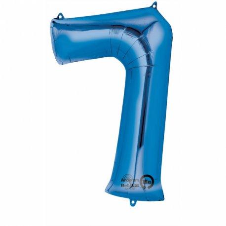 Balon foliowy, cyfra 7 niebieska 34 cale