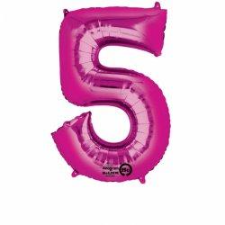 Balon Foliowy Cyfra 5 Różowa 53x88 cm - na urodziny
