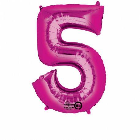 Balon Foliowy Cyfra 5 Róż 53x88 cm - na urodziny