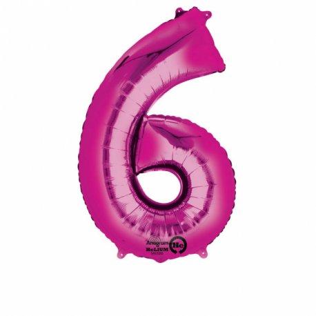 Balon foliowy - cyfra 6 różowa 55 cm x 86 cm