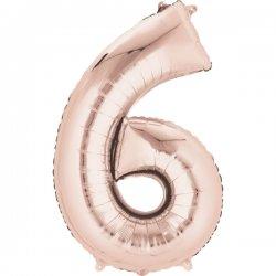 Balon foliowy, cyfra 6 złoty róż 34 cale (55x86cm)