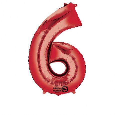 Balon Foliowy Cyfra 6 Czerwona 55x88 cm - na urodziny