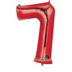 Balon Foliowy Cyfra 7 Czerwona 55x88 cm - na urodziny