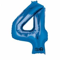 Balon foliowy, cyfra 4 niebieska 34 cale