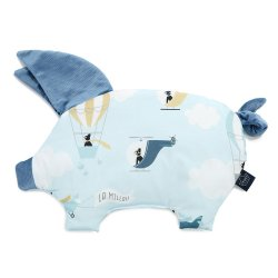 Podusia Sleepy Pig Velvet - Captain adventure, denim - La Millou