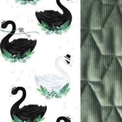 Poduszka Angel's Wings Velvet - Jungle swan, khaki - La Millou
