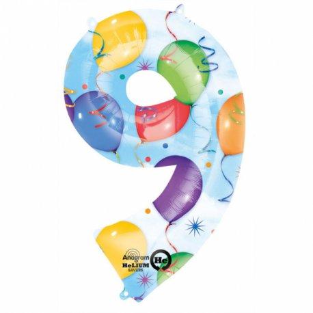 Balon foliowy, cyfra 9 kolorowa - 63 x 86 cm