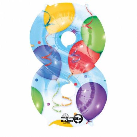 Balon foliowy, cyfra 8 kolorowa 53 cm x 83 cm