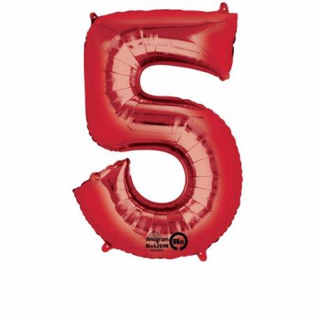 Balon Foliowy Cyfra 5 Czerwona 58 cm x 86 cm - na urodziny
