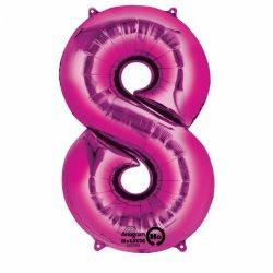Balon foliowy - Cyfra 8 różowa 53 cm x 83 cm