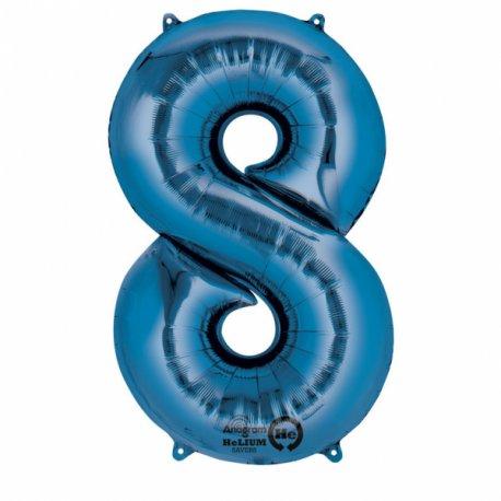 Balon foliowy, cyfra 8 niebieska 53 x 83 cm