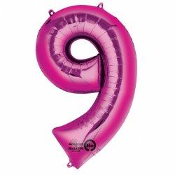 Balon Foliowy Cyfra 9 Różowa 63x86 cm - na urodziny