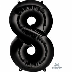 Balon foliowy, cyfra 8 czarna 53 cm x 86 cm