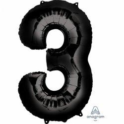Balon Foliowy Cyfra 3 Czarna 50x86 cm - na urodziny