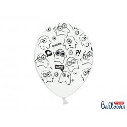 Balon lateksowy 30cm - Potworki, Pastel Pure White