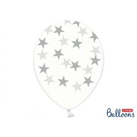 Balon lateksowy Crystal Clear 30 cm - Srebrne gwiazdki
