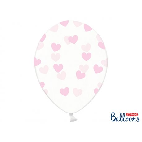 Balon lateksowy Crystal Clear 30 cm - Jasnoróżowe Serduszka
