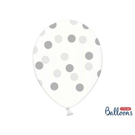 Balon lateksowy Crystal Clear 30 cm - Srebrne kropki