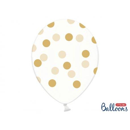 Balon lateksowy Crystal Clear 30 cm - Złote kropki