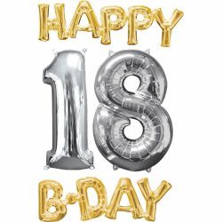 Balony na 18-te urodziny Cyfra 1 i 8 oraz napis Happy Birthday