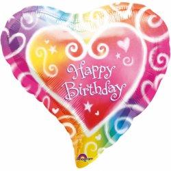 Balon foliowy SERCE z napisem Happy Birthday