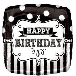 Balon foliowy Kwadratowy Czarno Biały z napisem Happy Birthday
