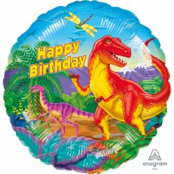 "Balon foliowy ""Prehistoric Party"" z napisem Happy Birthday"