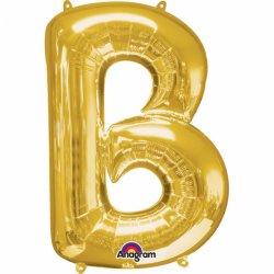 Litera B - Balon Foliowy Złoty 22 x 33 cm